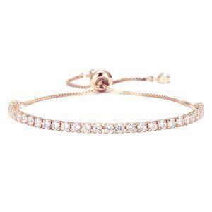 Tennis Chain Bracelet Zirconia Rose Gold Pullable